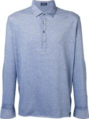 Drumohr , Long Sleeve Polo Shirt Men Cotton L, Blue
