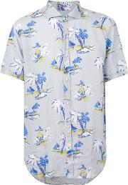 Drumohr , Printed Shirt Men Linenflax L, Blue