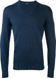 Drumohr , V Neck Jumper Men Linenflaxpolyamide 48, Blue