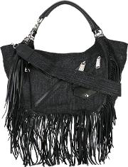 Dsquared2 , Babe Wire Fringed Hobo Bag Women Cottoncalf Leather One Size, Women's, Black