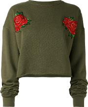Each X Other , Other Rose Embroidered Cropped Sweatshirt Women Cotton L, Green