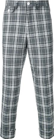 Education From Youngmachines , Cropped Checked Pants Men Polyesterpolyurethanerayon 1, Grey