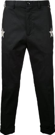 Education From Youngmachines , Star Patches Chinos Men Cottonpolyurethane 1, Black
