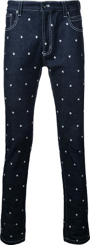 Education From Youngmachines , Stars Print Jeans Men Cottonpolyurethane 2, Blue