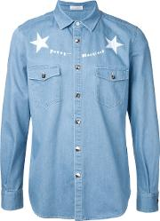 Education From Youngmachines , Stars Print Shirt Men Cottonpolyester 2, Blue