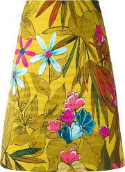 Eggs , Floral Print A Line Skirt Women Cottonspandexelastane 40