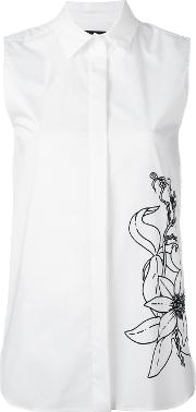 Eggs , Flower Print Sleeveless Shirt Women Cottonpolyamidespandexelastane 42, White