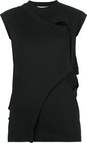Enfold , Ribbed Detail Folded Sweatshirt Women Cottonpolyester 40, Black