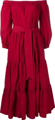 Erika Cavallini , Off The Shoulder Long Dress Women Cotton 46, Red