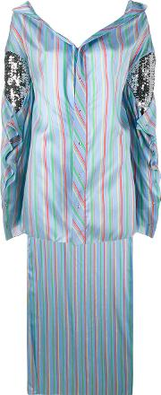 Esteban Cortazar , Striped Asymmetric Shirt Women Silkcottonacrylicspandexelastane 38, Blue