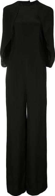 Esteban Cortazar , Wide Leg Cape Jumpsuit Women Silkviscose 38, Black