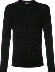 Exemplaire , English Ribbed Crew Neck Jumper Men Cashmere S, Black