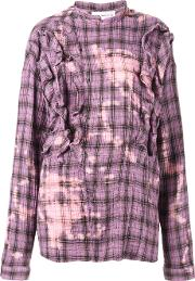 Faith Connexion , Checked Shirt With Faded Detailing And Front Ruffles Women Cottonramie S, Pinkpurple