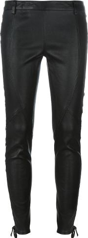 Faith Connexion , Lace Up Detailing Leather Trousers Women Calf Leatherlamb Skin Xs, Women's, Black