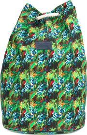 Fefe , Tropical Print Backpack Unisex Canvas One Size, Green