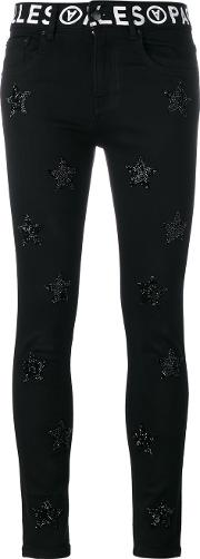 Filles A Papa , Cameron Embellished Slim Jeans Women Cottonspandexelastane 28, Black
