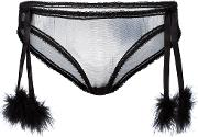 Folies By Renaud , Sheer Pom Pom Briefs Women Nylon L, Black