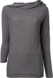 Forme Dexpression , Forme D'expression Draped Neck Longsleeve T Shirt Women Wool M, Grey