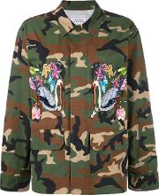 Forte Couture , Embroidered Military Jacket Women Cotton M, Green
