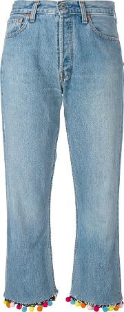 Forte Couture , Pompom Cropped Jeans Women Cottonpolyester 26, Blue