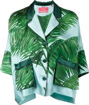 Frs For Restless Sleepers , F.r.s For Restless Sleepers Palm Leaf Print Pyjama Top Women Silk L, Women's, Blue