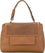 Furla , Perforated Flap Tote Women Calf Leather One Size, Brown
