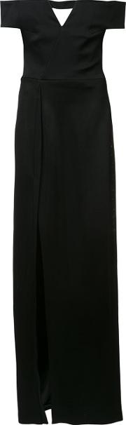 Galvan , Off Shoulder Gown Women Polyestertriacetate 40, Black