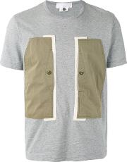Ganryu Comme Des Garcons , Colour Block T Shirt Men Cotton M, Grey