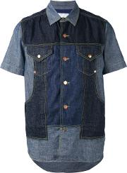 Ganryu Comme Des Garcons , Denim Panel Shirt Men Cotton S, Blue