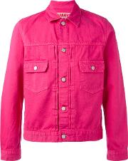 Ganryu Comme Des Garcons , Flap Pockets Denim Jacket Men Cotton M, Pinkpurple