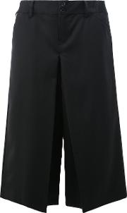 Ganryu Comme Des Garcons , Slit Detail Cropped Trousers Men Cuprowool M, Black
