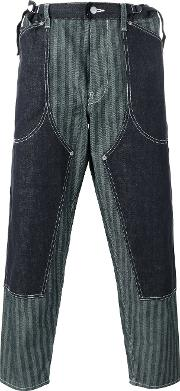 Ganryu Comme Des Garcons , Striped Layered Loose Fit Trousers Men Cotton L, Blue