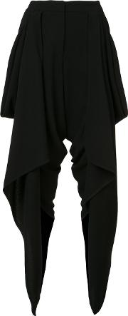 Gareth Pugh , Draped Wrap Cropped Trousers Women Silkspandexelastanecupro 38, Black