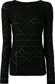 Gareth Pugh , Sheer Panel Detail Sweater Women Viscosenylonspandexelastane 40, Black