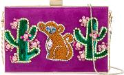 Gedebe , Cactus And Monkey Patch Clutch Women Leathermetal One Size, Women's, Pinkpurple