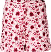 Giambattista Valli , Embroidered Shorts Women Cottonpolyesterpolyamidesilk 42, Pinkpurple