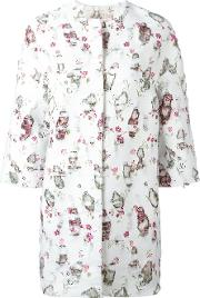 Giambattista Valli , Printed Cocoon Coat Women Cottonpolyesteracetateviscose 42, White