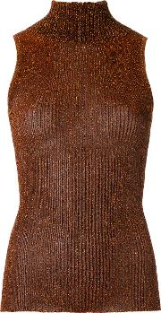 Gig , Turtle Neck Knitted Tank Women Polyester M, Brown