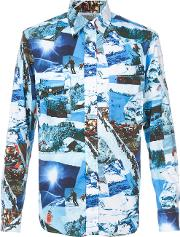 Gitman Vintage , Skying Print Shirt Men Cotton Xl, Blue