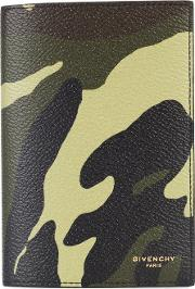 Givenchy , Camouflage Print Passport Holder Men Leather One Size, Green