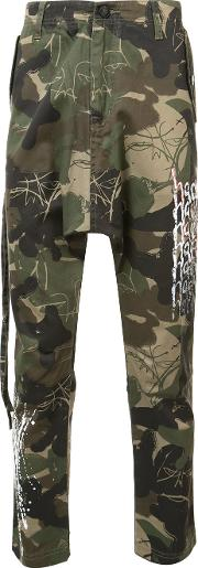 Haculla , Camouflage Print Trousers Men Cotton 36, Green