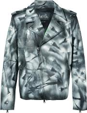 Haculla , Hand Painted Distressed Jacket Men Cottoncalf Leather Xl, Black