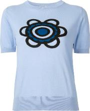 Holly Fulton , Flora Knitted T Shirt Women Cotton M, Blue