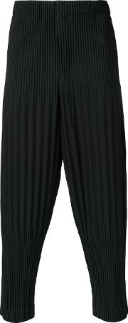 Homme Plisse Issey Miyake , Pleated Cropped Length Trousers Men Polyester 3, Black