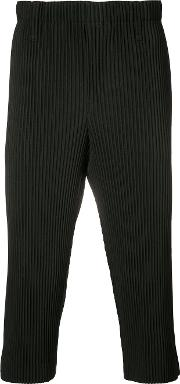 Homme Plisse Issey Miyake , Ribbed Cropped Trousers Unisex Polyester S, Black