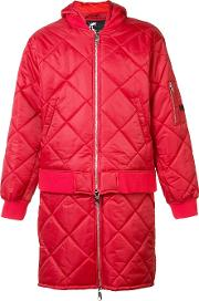 Hood By Air , 'against' Quilted Bomber Jacket Men Cotton S, Red