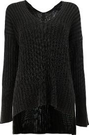 Ilaria Nistri , High Low Hem Ribbed Knitted Top Women Cottonviscose L, Black