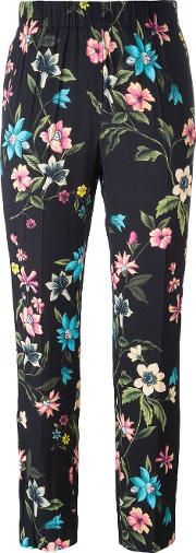 Incotex , Floral Print Cropped Trousers Women Viscose 44, Black