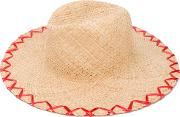 Inverni , Embroidered Straw Hat Women Straw One Size, Nudeneutrals