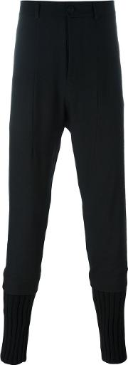 Isabel Benenato , Ribbed Cuffs Tapered Trousers Men Cottonlinenflaxyakvirgin Wool 48, Black
